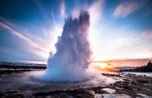 Eruption of Geyser in Iceland