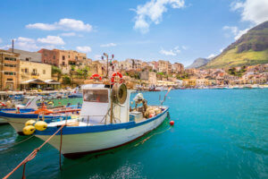 Small fishing village with boats at Sicily, Castellammare, Italy